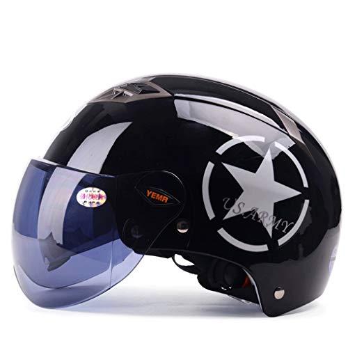ZXW Casque- Casque de moto électrique pour hommes, saison estivale, casque universel d'été semi-recouvert de lentille double et léger, femme (Couleur : Bright black-19x27cm)