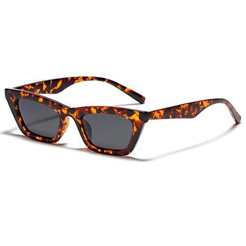 Vanlinker VL9555 - Gafas de sol pequeñas y delgadas con ojo de gato para mujer y hombre, diseño retro