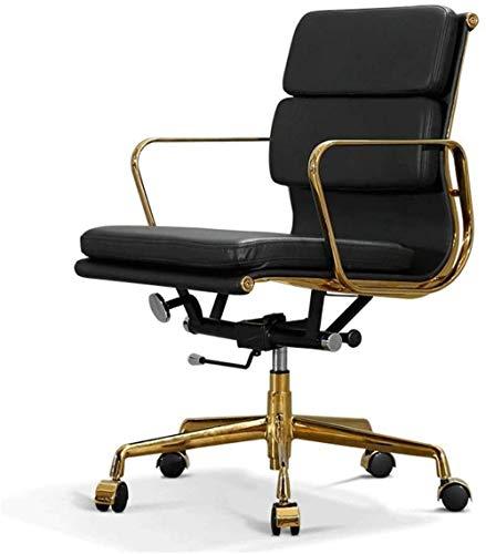 Bürostühle, Bürostuhl Computer Stuhl Padded Mid-Back-Büro-Schreibtisch-Stuhl Armlehne Exekutivbürodreh Sessel (Color : Black)