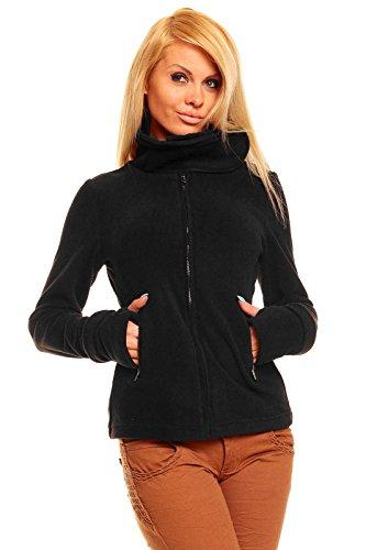 Ganeder Sexy Fleece Jacke Pullover Sweatjacke S M L XL XXL Schwarz mit Kragen NEU Q073 (L)