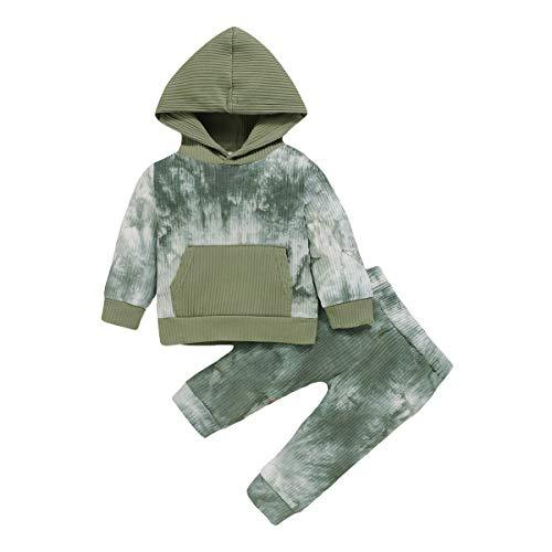 puseky 2 Stück Baby Jungen Mädchen Hoodie Sweatshirt mit Pocket Tops + Hosen Outfits Set