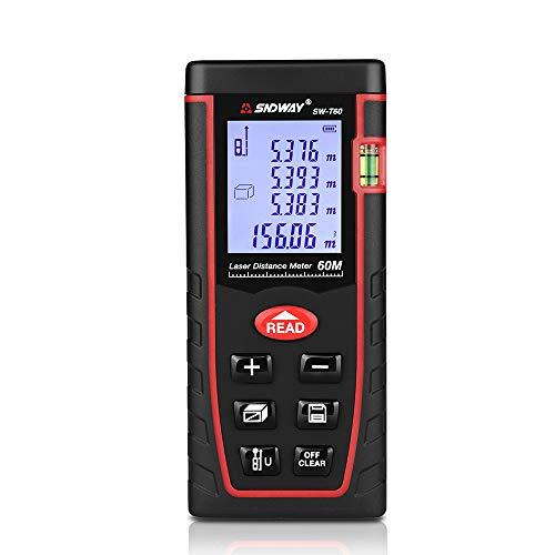 B&H-ERX Misuratore di Distanza Laser,Digitale 131-328Ft M/in/Ft con Sensore Elettronico di Angolo E Funzione Mute,LCD Retroilluminato per Misurazione Pitagorica,Distanza,Area E Volume,131FT/40m