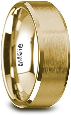 Thorsten Honor   Tungsten Rings for Men   Tungsten   Comfort Fit   Gold Plated Wedding Ring Band with Matte Brushed Finish and Polished Beveled Edges - 8mm