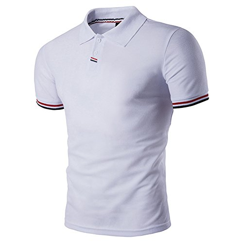 BicRad Herren Shirt Polo Kurzarmshirt Slim Polohemden Baumwolle, Weiß, Gr. XXL