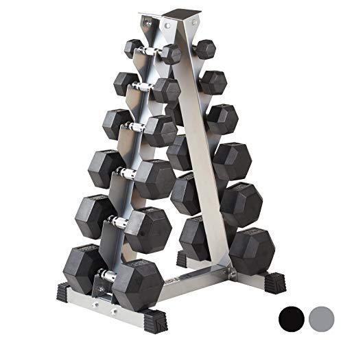 Mirafit 2kg-40kg Hex Dumbbells Set & Storage Tree - Black or Silver