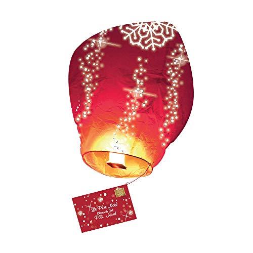 SKYLANTERN Lettre au père Noël Volante Biodégradable - Lanterne Volante avec Lettre de Noël Rouge - Lanterne de Noël Volante 60 x 105 cm