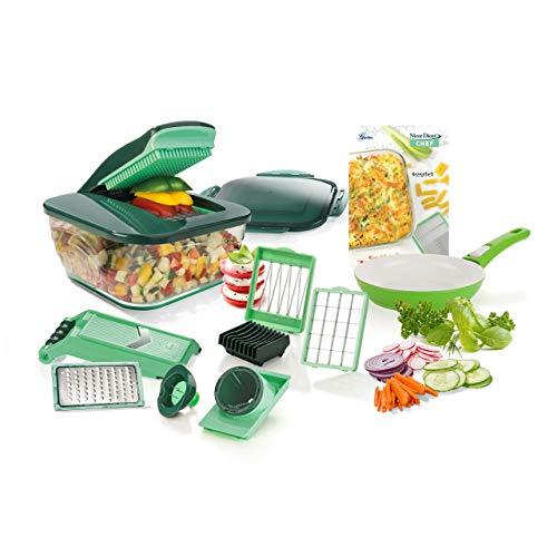 Genius A81201 Nicer Dicer Chef | 16 Teile | inkl. Tomaten-Gemüse-Schneider | Allesschneider | Obst-und Gemüseschneider | Bekannt aus TV | NEU, Edelstahl, Kunststoff