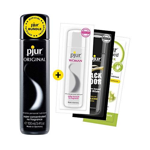 pjur ORIGINAL - Vorteilspack inkl. 3 x Gleitgelproben - Premium Silikon-Gleitgel - lange Gleitfähigkeit ohne zu kleben (100ml)