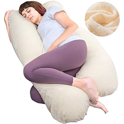 MOON PINE Pregnancy Pillow, U Shaped Full Body Pillow for Maternity Support, Sleeping Pillow with Velour Cover for Pregnant Women (Yellow)