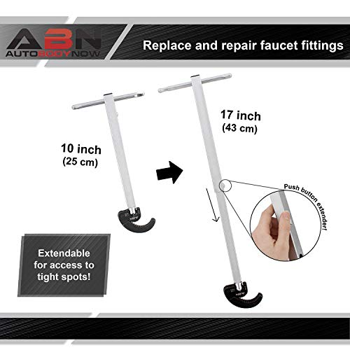 ABN Large Basin Wrench Extendable Faucet Installation Tool, Telescoping Plumbers Under Sink Telescopic 3/4 to 1-7/8