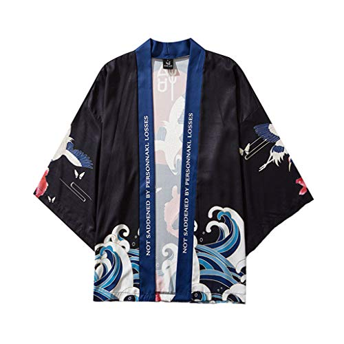 Fashion Japanese Kimono,Mens Womens Summer Five Point Sleeves Kimono Shirt Cloak Jacket Cropped Blouse Tops