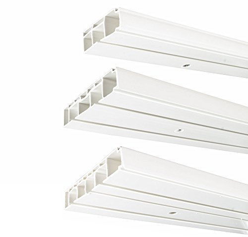 way2way | 210cm /3-läufig | Kunststoff Gardinenschiene Vorhangschiene, (1-/ 2-/ 3-läufig, Kunststoff, Weiss)