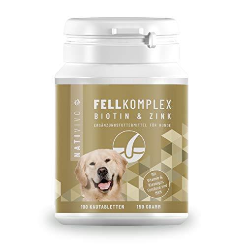 NatiVivo BIOTIN + Zink Hund Biotin Komplex für's Fell mit extra Folsäure & MSM - 100 Tabletten Vorratspackung - einfache Futterzugabe. Qualität Made in Germany.