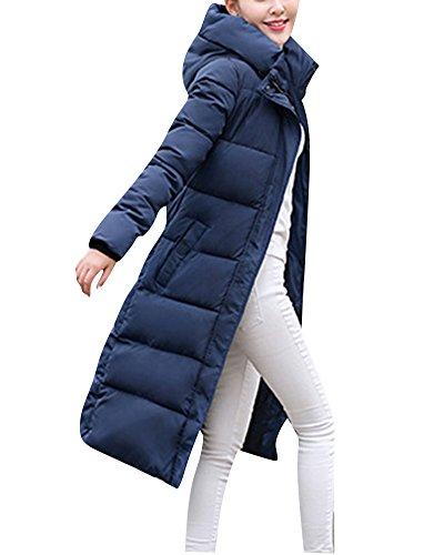 ZongSen Damen Verlängerte warme Mäntel Druck Mode Daunenjacke Parka Windbreaker Blau L