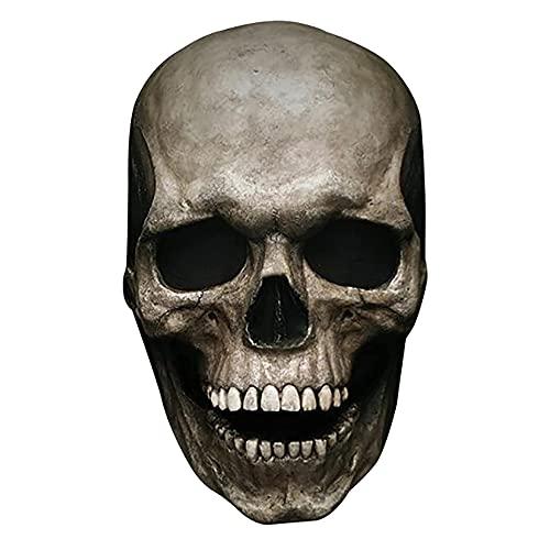Máscara de calavera con mandíbula móvil, máscara de calavera de cabeza completa de Halloween, máscara de esqueleto de látex aterrador.