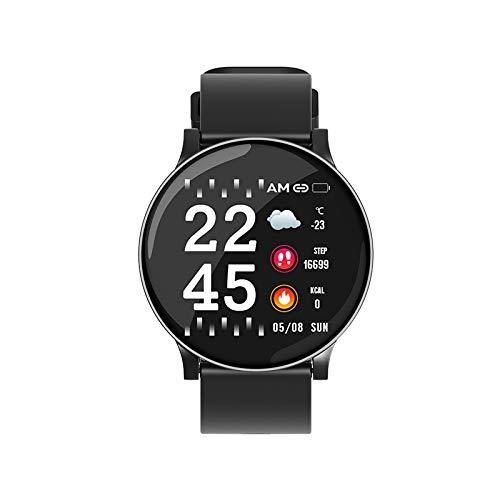 HXHH 1.3-Pulgadas de Pantalla Color Ajustes del Reloj, Ritmo cardíaco del sueño de la presión Arterial Monitoreo de múltiples Funciones del Reloj de los Deportes, Android y iOS,Negro