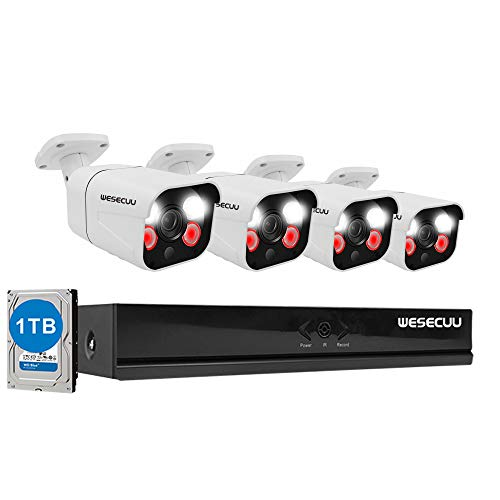 PoE Home Security Camera System,WESECUU 3MP 8CH Surveillance NVR System with 1TB Hard Drive,4PCS Outdoor PoE Cameras with Floodlight,Color Night Vision,Two Way Talk,AI Human Detection,Siren Alarm