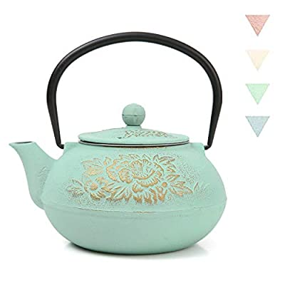 Cast Iron Teapot Ouxin,Japanese Style,Stovetop Safe Cast Iron Tea Kettle Coated with Enameled Interior for Coffee,Tea Bags,Loose Tea, Floral Pattern, 30oz (900 ml)?Green