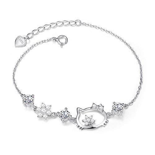 AQGELSL Moda Coreana 925 Hello Kitty Crystal Zircon Bracelet Pulsera para Mujer @ White_925 Silver