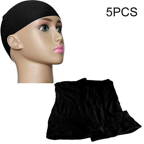 T Ll 5 PCS hohe elastische Seiden-Socken Haarnetz Perücke Liner Caps Snood Mesh, B (Schwarz) (Farbe : Black)