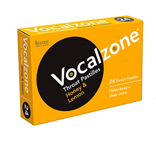 Vocalzone Throat Pastilles Honey & Lemon 24 - for Sore Throats and Hoarseness When Overusing Your Voice. Produced and Sold in The United Kingdom Since 1912.