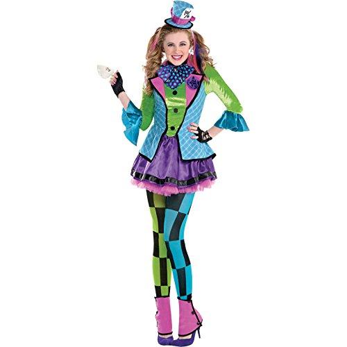 Generique - Hutmacherin für Teenager Clown-Kostüm bunt 164/176 (14-16 Jahre)