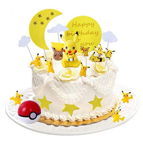 Colmanda Tortendekoration Geburtstag, Tortendeko Cake Topper Kuchendeko Happy Birthday, Geburtstag Dekoration mit Pikachu Figuren Party Kuchen, Geburtstag für Kinder Baby Mädchen Junge