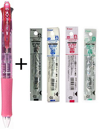 Pilot 4 Colors Ballpoint Pen, Acroball 4 Extra Fine, Black, Red, Blue & Green (BKAB-45EF-CSP) (Pink + Refill Set)