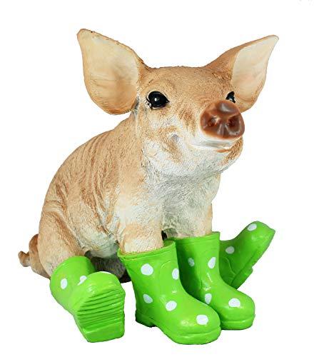 colourliving Schwein Figur mit Gummistiefeln Gartendeko Sau Figur Gartenfigur Dekofigur Tierfigur lustige Gartendekoration Ferkel grün