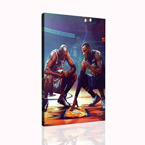Basketball poster Kobe Bryant LeBron James and Mj canvas wall art print large size poster SANTA RONA(12x18inch,No framed)
