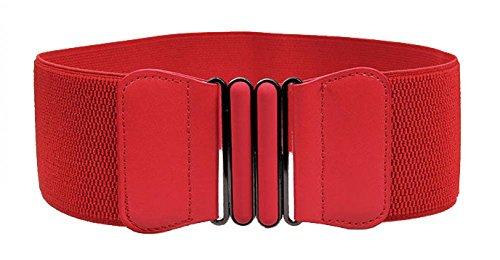 VOCHIC Wide Elastic Plus Size Belt for Women Cinch Waist Belt Stretch Waistband, Red, XXL(42'-47')