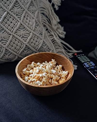 onvacay Teak-Holz Schale Bowl Vegan Salat Smoothie EIS Frühstück Porridge 15cm inkl. Löffel im Set Zertifiziert handgefertigt - 3