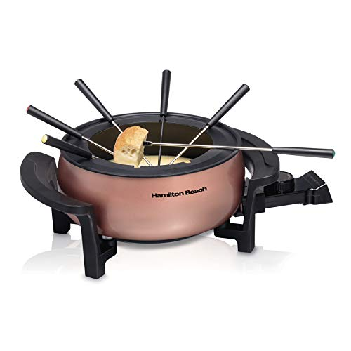 Hamilton Beach 3 Quart / 2.8 Liter 3QT Copper Electric Fondue Pot Set with Temperature Control, 6-Color Coded Forks, for Cheese, Chocolate, Hot Oil, Broth (86201)