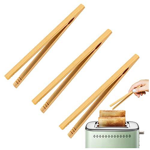 Gurxi Pince à Toast en Bambou Pinces en Bambou pour Toasts Pince Alimentaire Bois 18cm Respectueux de l'environnement Non Toxique 3 Pièces