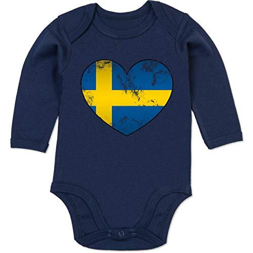 Shirtracer Fußball-Europameisterschaft 2021 - Baby - Schweden Vintage Herz - 6/12 Monate - Navy Blau - Schweden - BZ30 - Baby Body Langarm