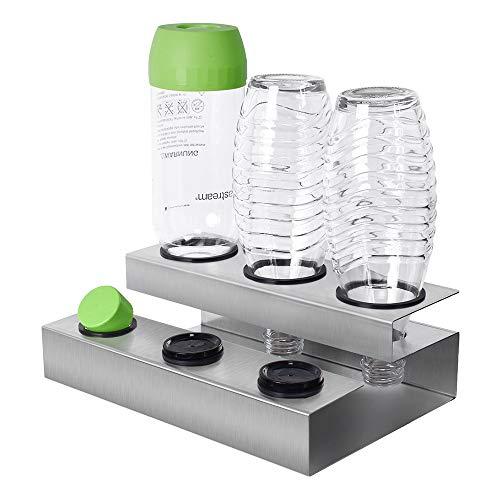 Sodastream Flaschenhalter, Soda Stream Glasflaschen Neu Gestalteter Flaschenhalter, AbflussstäNder FüR Kristallglasflaschen, Hochwertiger Abfluss Edelstahl(3 Reihen)