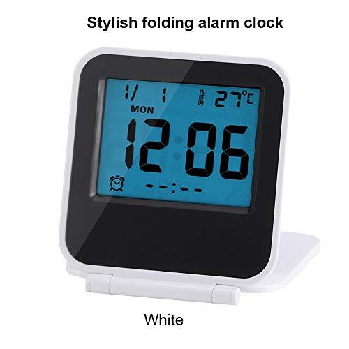 Zusammenklappbar Wecker Tragbar Ultra Slim Design Reise Tabletop Digital Wecker mit Temperaturanzeige Kalender Datum Woche Weiß
