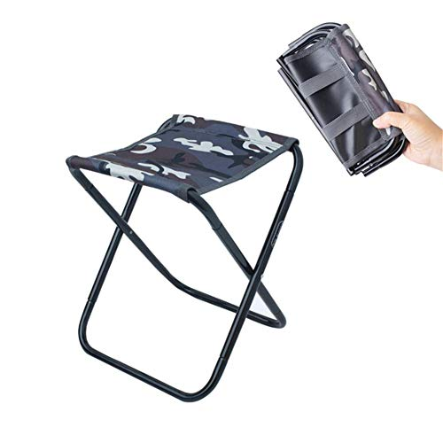 LHFLU-SP Outdoor Camping Chairs Fishing Stool Folding Chair Hiking Picnic Beach Travel Seat with Pouch,camouflage