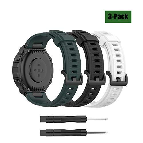 3 correas de repuesto compatibles con Amazon T-Rex, pulsera deportiva de silicona suave Tclosure para relojes inteligentes Amazfit T-Rex