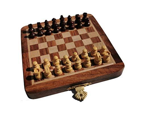 SchachQueen - Holzkassette Schach Reiseschach magnetisch handgefertigt, indischer Palisander/Buchsbaum (FG 13mm - KH 20mm - 160 g)
