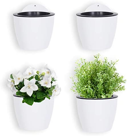 MyGift 7 inch Modern Wall Mountable Self Watering White Planter Pots Set of 4 product image