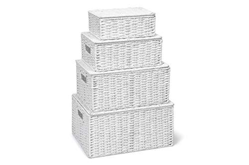 Arpan Nuovo bianco Set di corda 4 di conservazione della carta Hamper cesto con coperchio - Compreso Xlarge , Grande, Medio , Piccolo