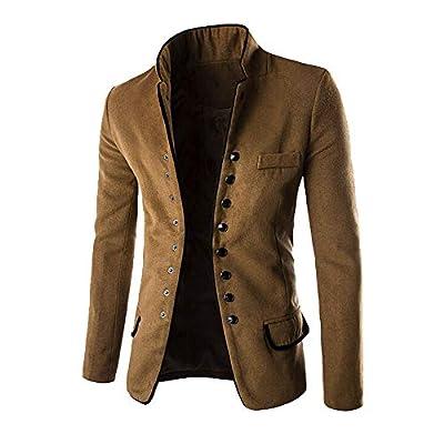 TOPUNDER Fashion Autumn Winter Button Coat Men Long Sleeve Cardigan Sweater Top Blouse Khaki