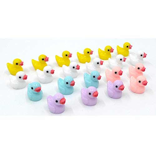 EMiEN 21PCS Little Duck 4 Colors Duckling Miniature Ornament for DIY Dollhouse Decoration Fairy Garden Plant Décor, Nice Decoration Accessories for Desk,Cabinet,Kids Room,Party etc. Christmas/Birthday