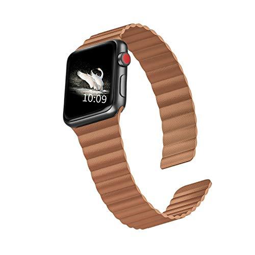 LKEITY compatible con Apple Watch Band 44 mm 42 mm, correa de cuero magnética fuerte para iWatch Series 5/4/3/2/1 mujeres hombres (color marrón claro)