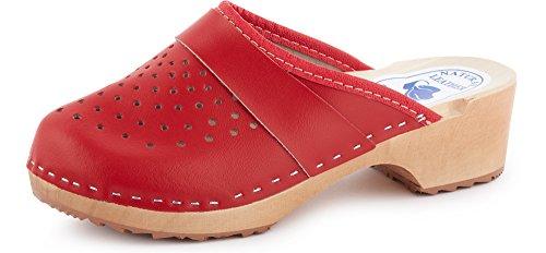 Ladeheid Zuecos de Madera Sandalias Mujer LABR307 (Rojo, 36 EU)