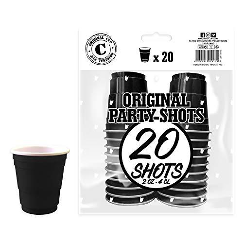 Pack de x20 Original Black Shot Cups Officiels   Shots Américains 4cl Noirs   Beer Pong   Shooters Qualité Premium   Gobelets en Plastique Réutilisables   Lavables Lave-Vaisselle   OriginalCup®