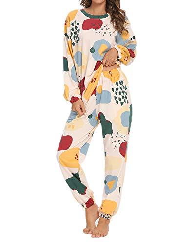 GOSO Pijamas Mujer-Conjunto de Pijamas de Mujer Pjs Top Ropa de Dormir Lady Estilo Jogging Nightwear Soft Lounge Sets