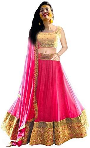 Drashti Villa Women's Net Semi stitched Lehenga Choli (haldi_Pink_Free Size)
