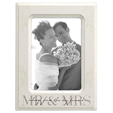Malden International Designs Wedding  Mr. and Mrs.  Wooden Picture Frame, 5x7, Cream